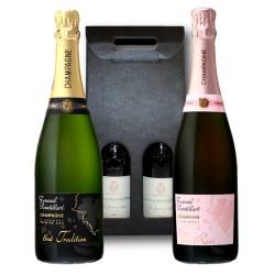 Coffret Cadeau Champagne Brut et Brut Rosé