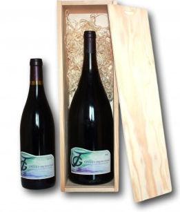 Magnum de vin rouge en caisse bois
